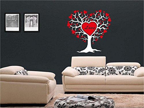 lepni.me N1302 de árbol Grande con la Etiqueta engomada Corazones Vinilo, Regalo de San Valentín (Blanco)