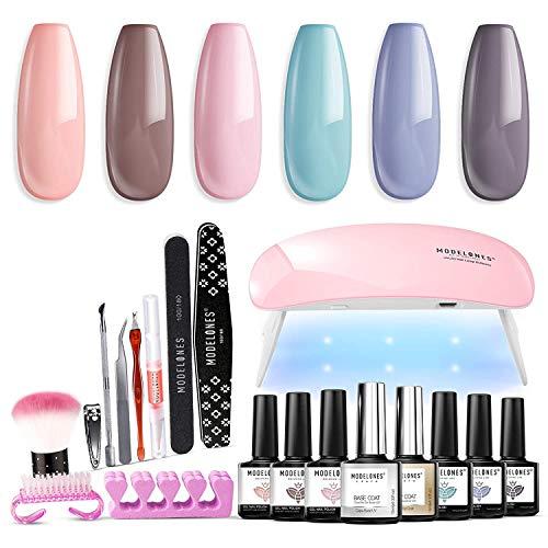 Modelones Gel Nail Kit with 6W Mini LED Nail Lamp, 6 Color Pink Gel Nail Polish Set Soak Off Nail...