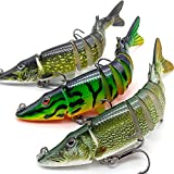 XFISHMAN Bass Fishing Lures 5' 3D Multi Jointed Swimbaits Lures for Northern Pike Lake Trout Fishing Tackle (2-Multi...