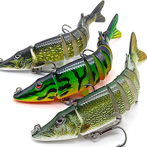"""XFISHMAN Bass Fishing Lures 5"""" 3D Multi Jointed Swimbaits Lures for Northern Pike Lake Trout Fishing Tackle (2-Multi Jointed Pike Swimbaits Kit 3 Piece)"""