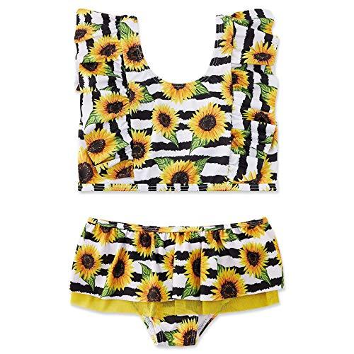 Huihong Mädchen Badeanzug Bikini, Sonnenblumendruck Kindere Zweiteiliger Bademode Verstellbarer Schultergurt,UV-Schutz...