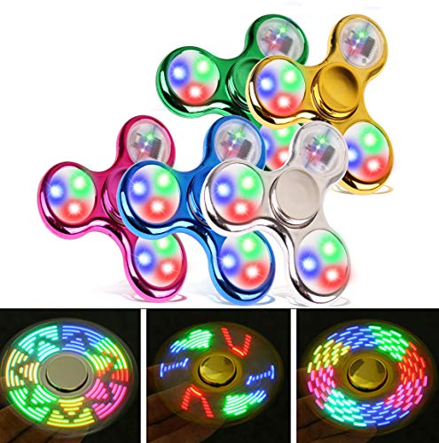 FIGROL Fidget Spinner, Led Light Fidget Toy Rainbow Finger Toy Hand Figit Spinner-Kids for ADHD Anxiety Stress Reducer (5 Pack)