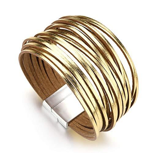 BRTTHYE Lederen Armbanden Voor Vrouwen Dames Slim Strips Multilayer Brede Wikkel Armband Vrouwelijke Sieraden Gift