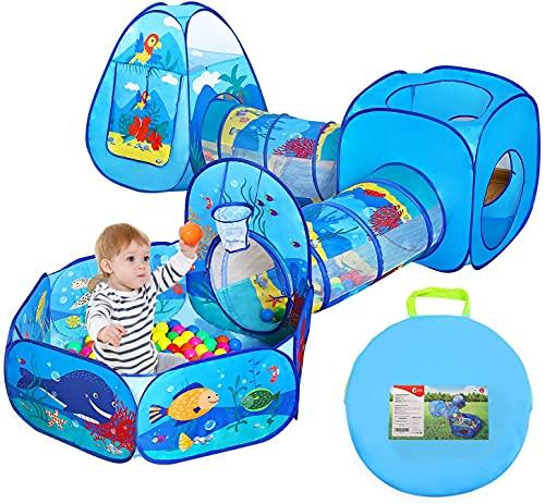 CUTE STONE Kinder Spielzelte Set mit Tunnel, 5-Teiliges Spieltunnel und Bällebad Spielhaus mit Tragetasche für Drinnen Draußen (Ohne Bälle)