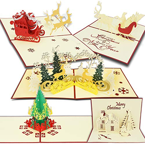 Christmas Cards, T-Antrix 3D Pop Up Holiday Gift Greeting Cards for Xmas/New Year-5 Cards & Envelopes