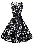 ihot Vintage de la década de 1950 con Clase Rockabilly Retro Floral Estampado de Flores de cóctel de...