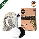 Waschbare Abschminkpads I 20 wiederverwendbare Abschminktücher aus Aktivkohle & Bambus mit Wäschebeutel | Wattepads waschbar und wiederverwendbar | Nachhaltige Plastikfreie Bio Produkte | Zero Waste