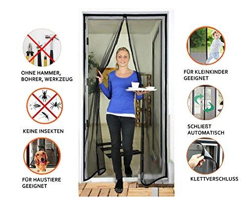 Door easy Fliegengitter Tür 90 x 210 cm [Robustes Fiberglas & extra starke Magnete] - Insektenschutz Balkontür - Fliegenvorhang Terrassentür - Fliegenschutz, Magnetvorhang ohne Bohren