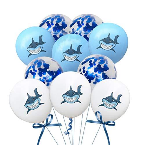 BESTOYARD 10pcs Globos de látex Lindos Coloridos Patrones de Tiburones Globos decoración para el hogar para la Fiesta de cumpleaños (Blanco + Azul Claro + Azul Lentejuela)