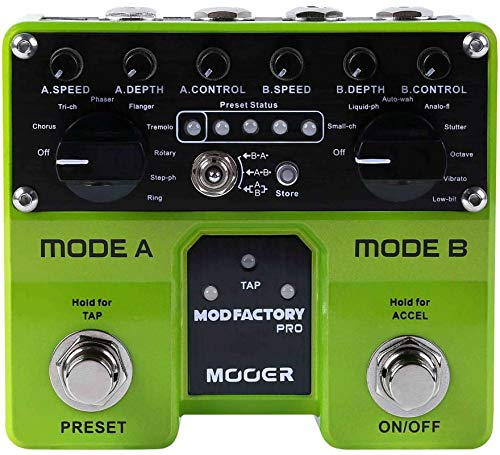 CAMOLA Mooer Mod Factory Pro Dual Engine Modulation Guitar Effect Pedal Containing 16 Modulation Effects Tap Tempo Function with Dual Footswitches