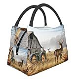 Cool Viejos Tractor y ciervo lindo portátil impermeable para el almuerzo, bolsa de mano, bolsas de aislamiento térmico