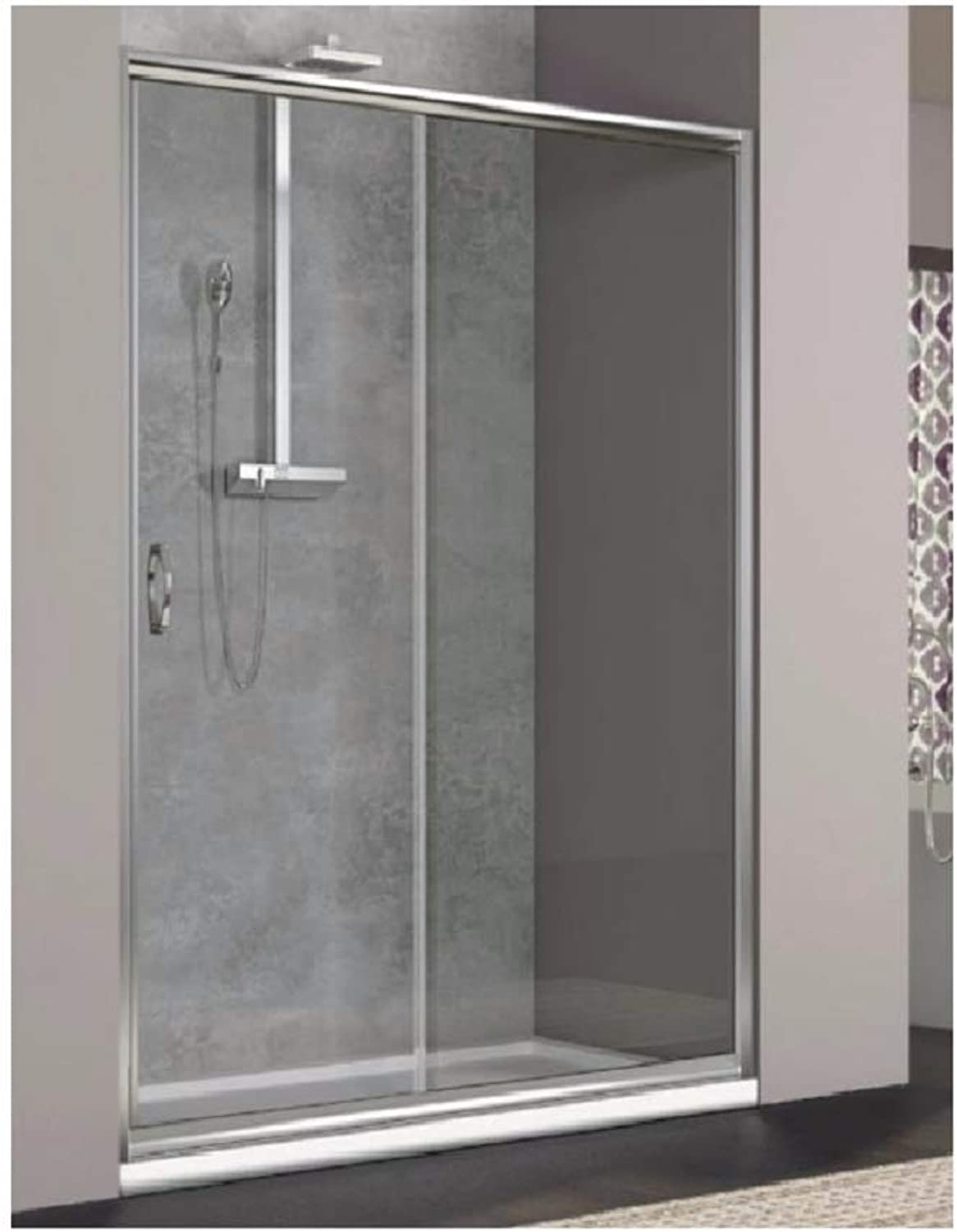 Shower Screen 6?mm Tempered Glass Transparent For A Side Of The Place Of Side Doors Sliding?–?Reversible Left Right Width 100?cm, height 185?cm