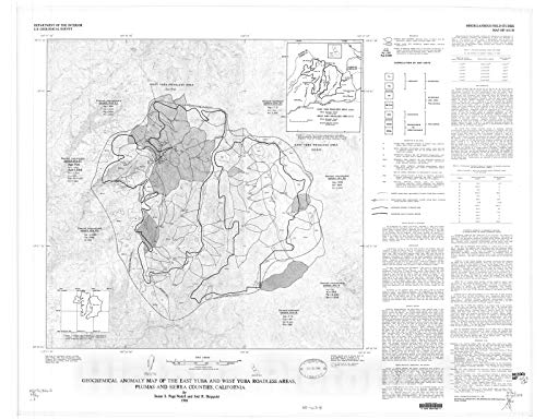 Historic Pictoric Map : Geochemical Anomaly map of The East Yuba and West Yuba Roadless Areas, Plumas and Sierra Counties, California, 1986 Cartography Wall Art : 30in x 24in