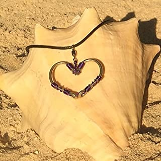 The Original FISH HOOK HEART Necklace - Purple Wire on Silver Hooks