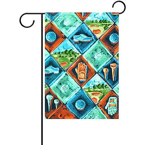 KL Decor Vlag Banner, Vintage Patroon Doos Kleurrijke Golf Bal Schilderen Sport Dubbelzijdig Bedrukte Tuinvlaggen Voor Home Decoratie
