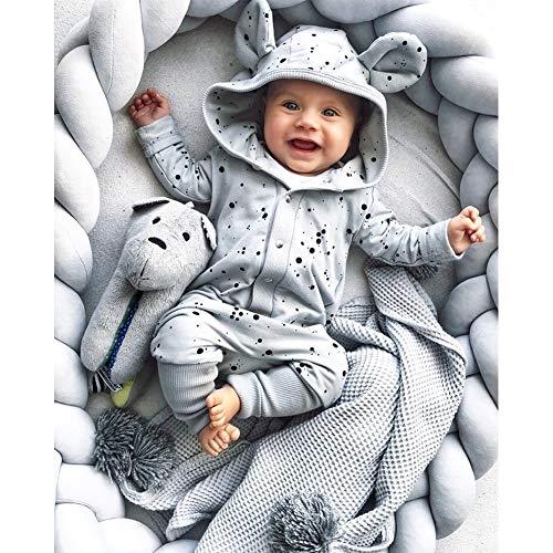 MOMAID Baby Braided Crib Bumper Knotted Plush Soft Nursery Toddler Crib Bedding Sets Decor Handmade Cradle Newborn Pillow Snuggle Sleep Bed Pads