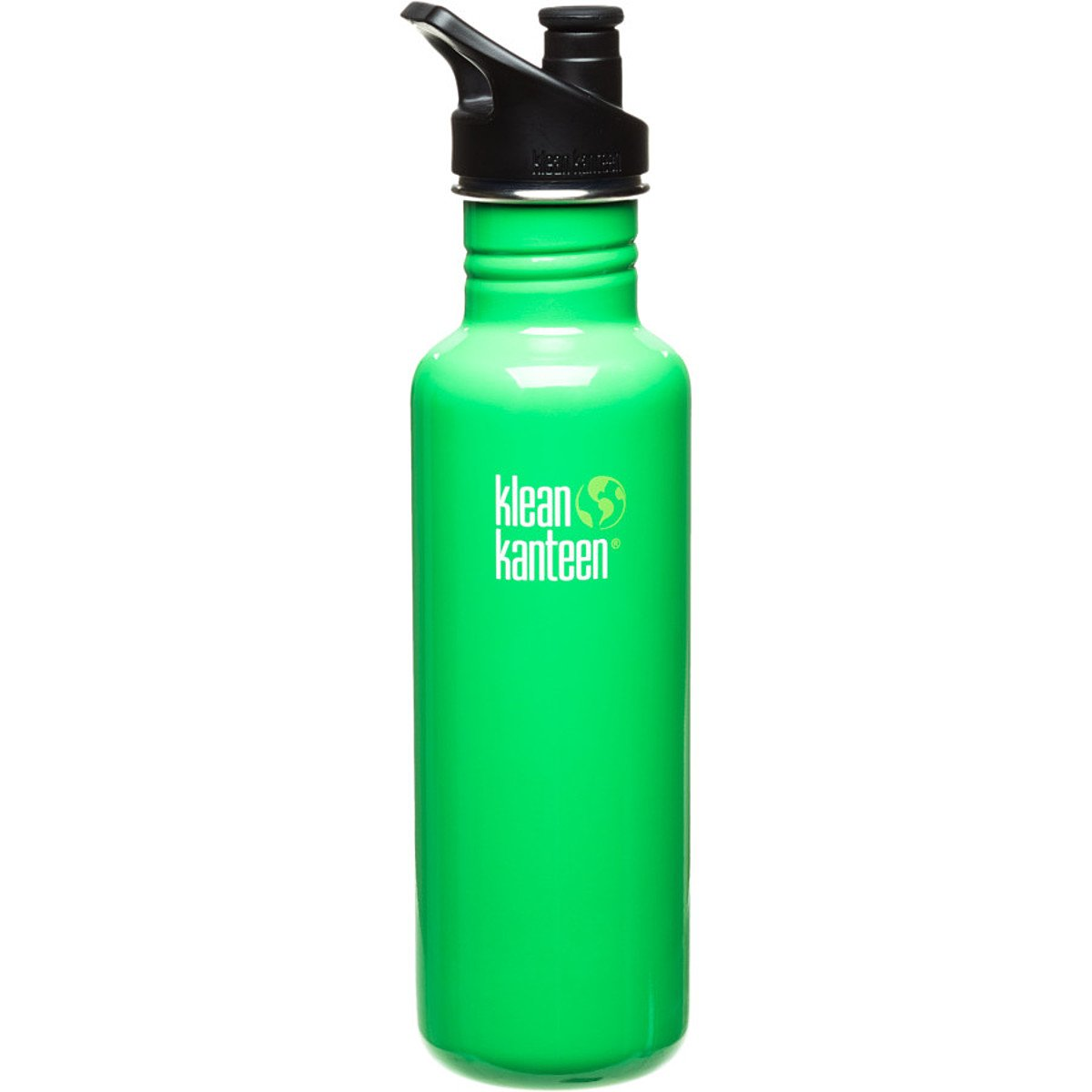 Klean Kanteen 27 oz Stainless Steel Water Bottle with Loop Cap in Black Organic Garden with Black Loop Cap