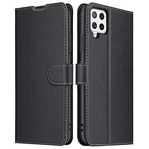 ELESNOW Hülle für Samsung Galaxy A42 5G, Premium Leder Flip Schutzhülle Tasche Handyhülle mit [ Magnetverschluss, Kartenfach, Standfunktion ] für Samsung Galaxy A42 5G (Schwarz)