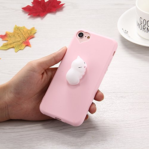 WDCKXY. Telefon-Kasten for iPhone 6 Plus & 6s Plus-3D-weiße Katzen-Muster Squeeze Relief Squishy Dropproof Schutzhülle Rückseite Fall