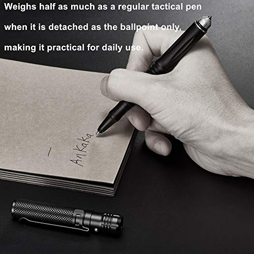 The Most Loaded 6-in-1 Tactical Pen: Solves Other Brands' Weaknesses,Self Defense Tip + Flashlight + Ballpoint + Bottle Opener + Screw Driver + Hexagonal Wrench, 5 Ink Refills + 6 Batteries + Gift Box