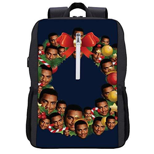 Christmas Multi Wreath Carlton Banks Fresh Prince Backpack Daypack Bookbag Laptop School Bag with USB Charging Port