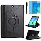 Case for Samsung Galaxy Tab A 9.7 inch (SM-P550 SM-T550 SM-T555) - 360 Degree Rotating Stand Case Smart Protective Cover,with Stylus Pen,Screen Film (Black)