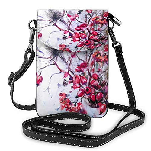 Schöner Blumenstrauß aus Zweigen und Beeren in Blau, kleine Umhängetasche, Handtasche aus PU-Leder mit verstellbarem Riemen für den Alltag