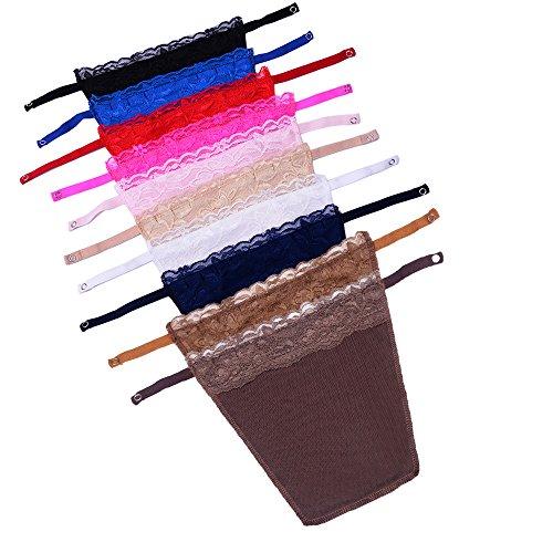 YEKEYI 10Pcs Dame Spitze Clip-on Mock Camisole BH Einsatz Overlay Modesty Panel Weste