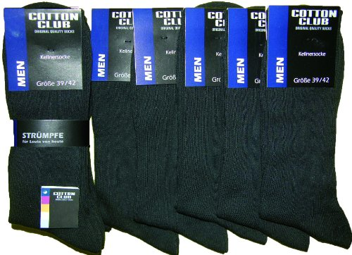 Cotton Club Herren Arztsocken/Kellnersocken im 15er Pack (43-46, schwarz)
