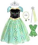 AmzBarley Niña Princesa Anna Coronación Vestido Disfraz Niño Cumpleaños Fiesta Cosplay Carnaval Cosplay Halloween Ceremonia Traje Verde 11-12 Años 150