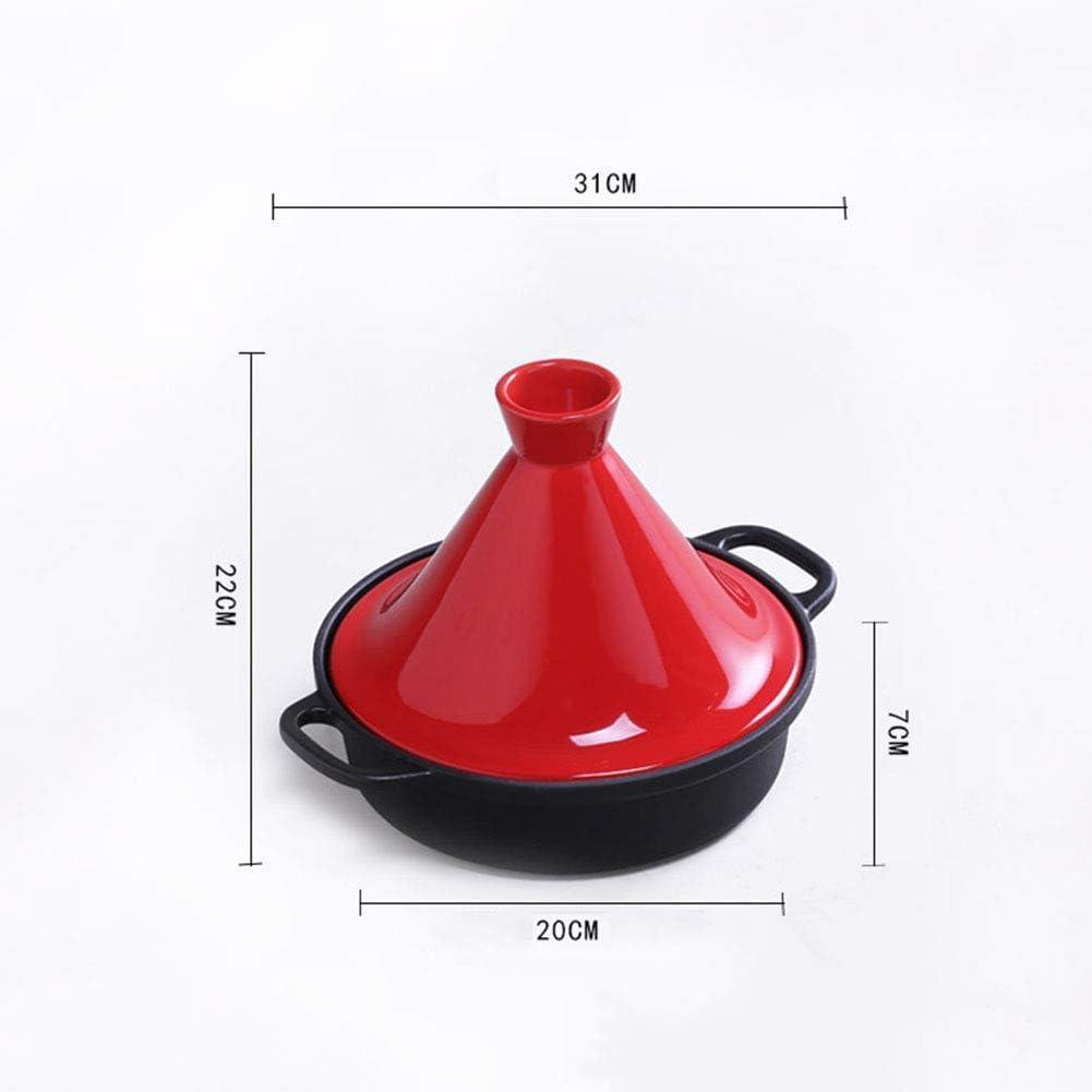 YLCJ Casserole épaisse pour cocotte en céramique avec Base en Fonte et Couvercle Entonnoir en grès pour Tous Les Types de plaques, Orange Yellow