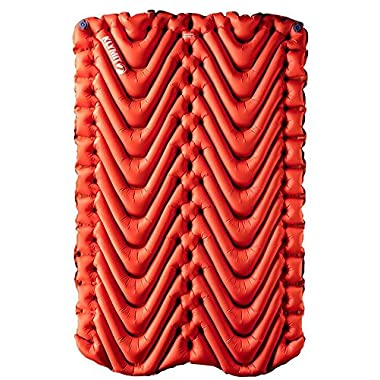 Klymit Insulated Double V 4 Season Backpacking and Camping Sleeping Pad - Includes Stuff Sack, Patch Kit, and