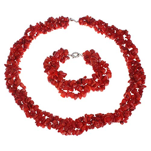 TreasureBay FAB - Parure di gioielli da donna con collana e bracciale in corallo rosso naturale
