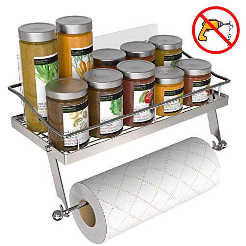 GeekDigg Adhesive Paper Towel Holder Wall Mounted for Kitchen 13 in Bathroom Tissue Roll Hanger with Storage Shelf Stainless Steel Wall Mounted Sticky Spice Rack/Shower Caddy New Version