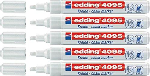 5er Pack edding 4095 Fenster-/Kreidemarker, 2-3mm, weiß