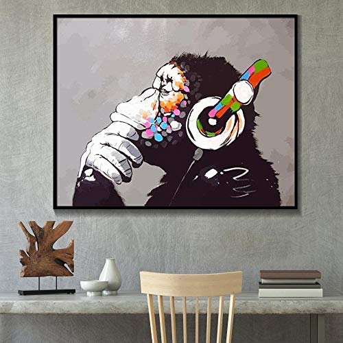 IGZAKER Banksy Canvas Pictures Monkey Headphones Home Decorative Wall Art Paintings Prints Modern Modular Poster Living Room / 50x70cm (sin Marco)