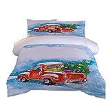 Bdppood Juego de cama de matrimonio 3 piezas 3D camión impreso cama doble cama ultra suave microfibra edredón conjunto 200 x 200 cm con 2 fundas de almohada, cierre de cremallera