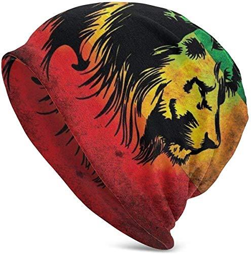 Unisex Beanie Caps Rasta Lion Jamaika Reggae Style 3D Skull Cap Strickmütze Warm Winter Sommer Strickmützen für Damen Herren Schwarz