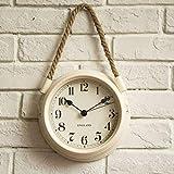 FortuneVin Reloj de Pared Modernos Elegante RelojReloj de Pared Minimalista Moderno nórdico Sala de Estar Cuerda de Metal Relojes de Cuarzo Colgantes 8 Pulgadas Blanco