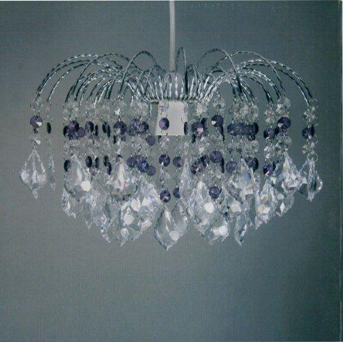 Lightmode Canterbury Kristallanhängern Acryl mit Chromrahmen DeckenLeuchte Lampenschirm transparent und Pflaumenfarben LMB030