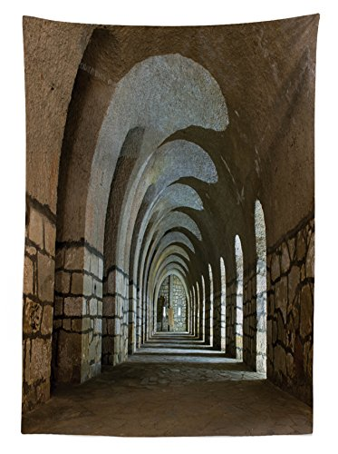 """Ambesonne Antique Outdoor Tablecloth, Corridor in an Old Fortress Touristic Historical Landmark Medieval Hallway Picture, Decorative Washable Picnic Table Cloth, 58"""" X 104"""", Sand Brown"""