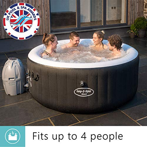 Lay-Z-Spa Miami Hot Tub, 81 AirJet Massage System Inflatable Spa Rapid Heating, 2-4 Person