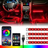 [Upgraded] Xprite RGB LED Car Interior Bluetooth Light Strip with Wireless Remote Silicone Sealed Design, Under Dash Footwell Lights Kit w/USB Cable, Universal for Vehicle Internal, SUV, Truck -4 PCS