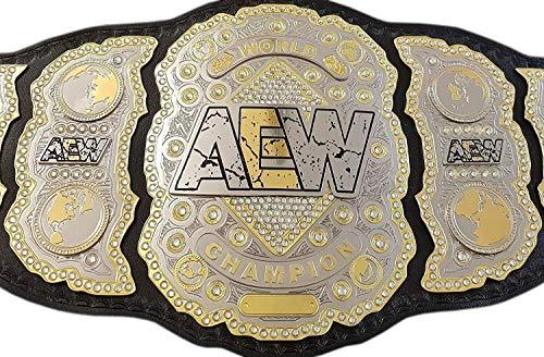 Grid Era Sports AEW World Heavyweight Championship Cinturón doble chapado en oro
