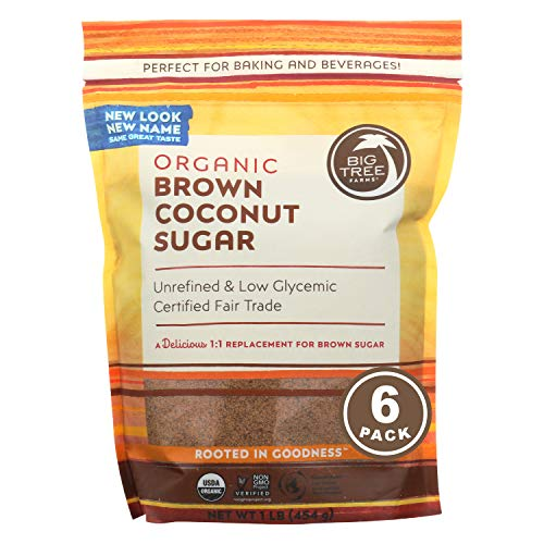 Big Tree Farms Organic Brown Coconut Sugar, Vegan, Gluten Free, Paleo, Certified Kosher, Cane Sugar Alternative, Substitute for Baking, Non GMO, Low Glycemic, Fair Trade, 1 Pound (Pack of 6)