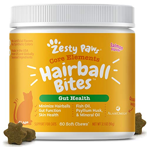 Zesty Paws Hairball Bites for Cats - Cat Furball Control - Functional Supplement with Omega 3 Fish...