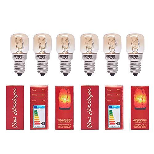 6 Stück 25 W Glühbirnen für Himalaya-Salz-Lampen, dimmbare E14-Fassung. Original-Ersatzteil. 1 Jahr Garantie. Glow Himalaya