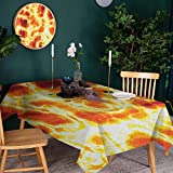 Rectangular Tablecloth Washable, Stain Resistant and Spillproof Table Cloth Hot Burning Lava W54 x L72 for Kitchen Dining Room Rectangle Tables and Table Protection
