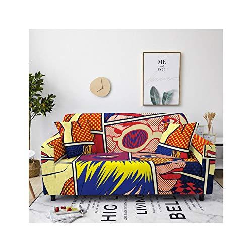 ADosdnn Cubierta de sofá elástica de Dibujos Animados para Sala de Estar Sillón seccional Todo Incluido Cubierta de sofá Tapa de sofá Estiramiento (Color : CQ80 6, Size : 4 Seater 235 300cm)