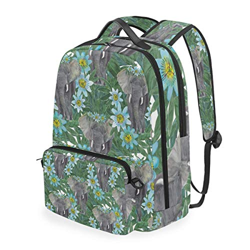 Watercolor Painting Seamless Pattern Elephant Passion,School Backpack with Removable Pencil Case, 2 in 1 Travel Daypack Fits 15 Inch Laptop for Girls or Boys